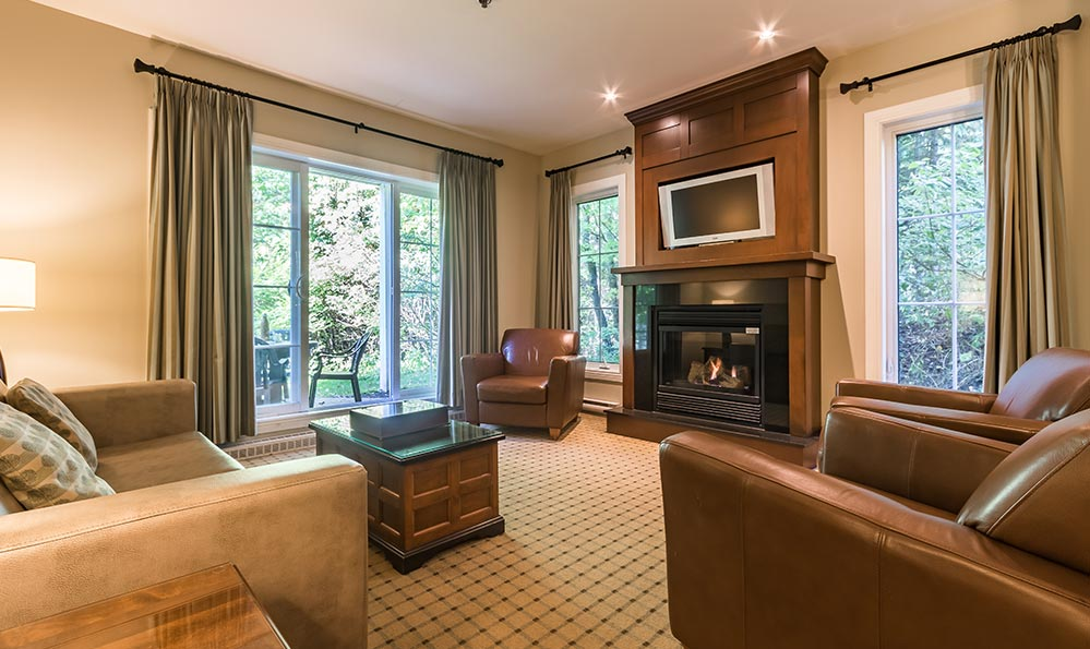 three bedroom hotel suites at Chateau Beauvallon in Mont Tremblant.