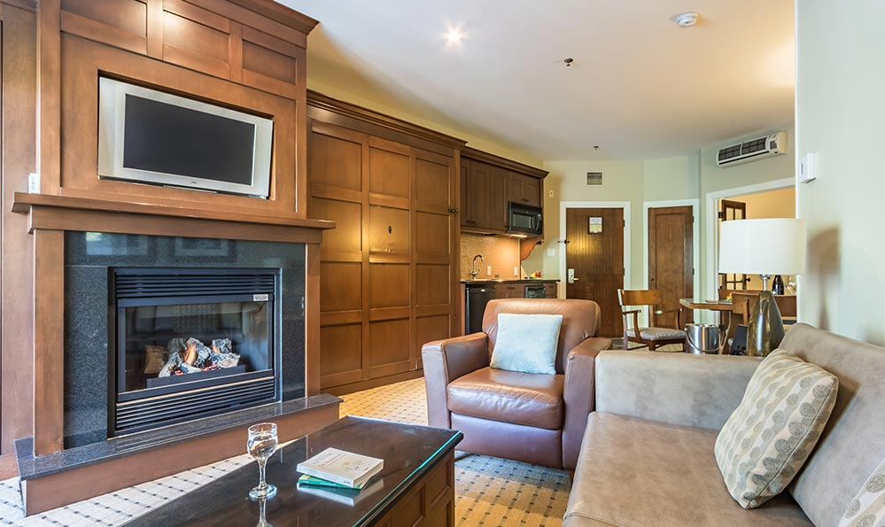 two bedroom hotel suites in Mont Tremblant at Chateau Beauvallon.